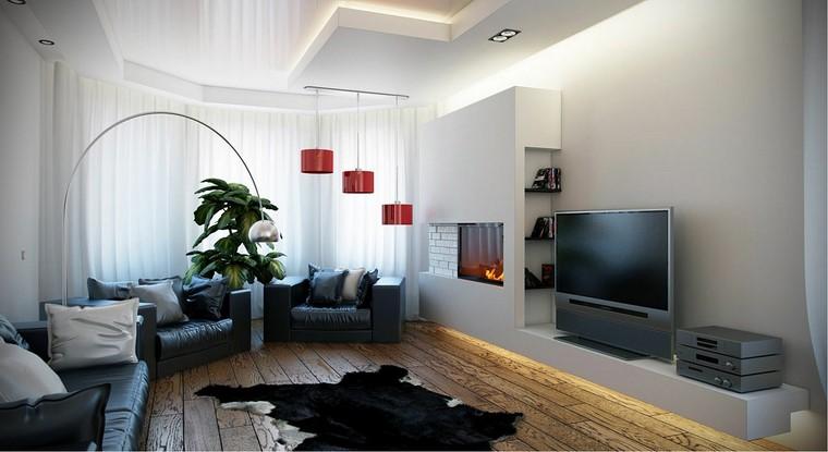 sofas cuero negro chimenea pared alfombra ideas