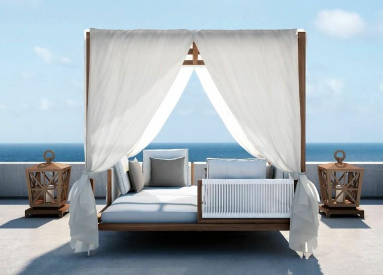 sofas jardín dosel moderna madera ideas