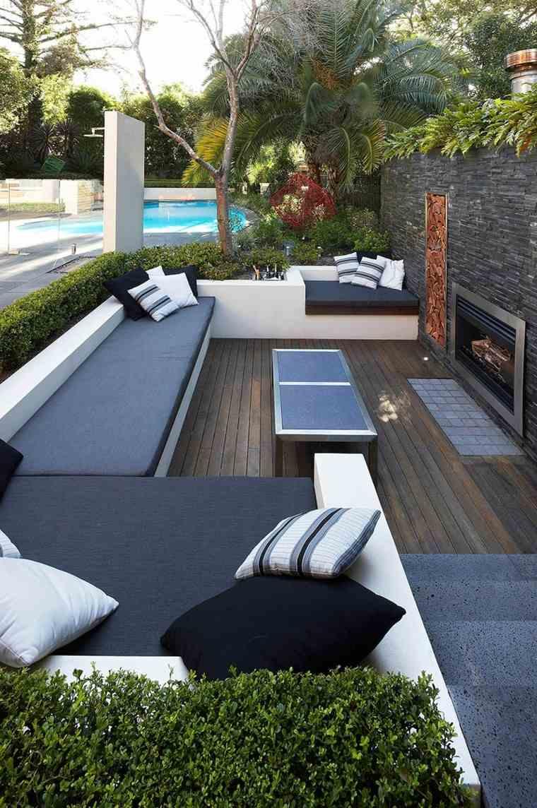 sofas jardín hormigon color azul modernas ideas