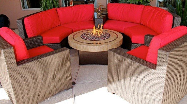 sofas jardín lugar fuego muebles exterior ideas