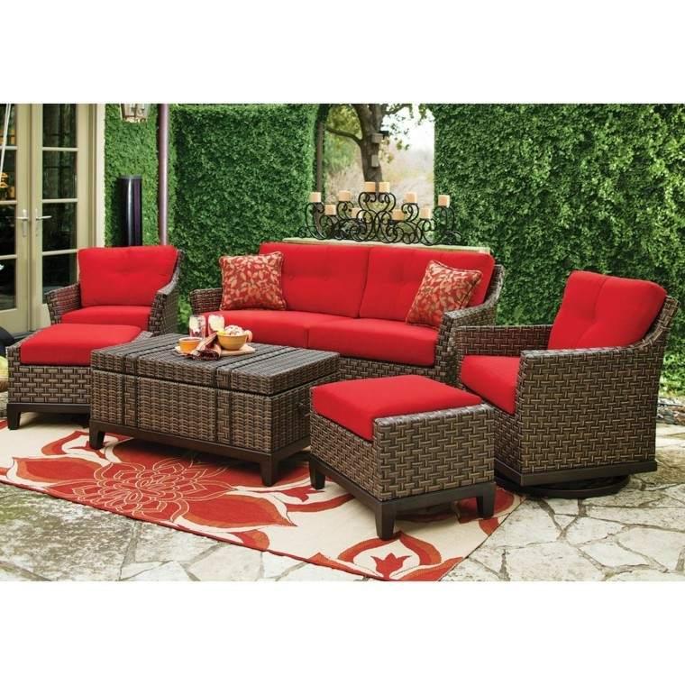 sofas jardín rattan alfombra rojo blanco ideas