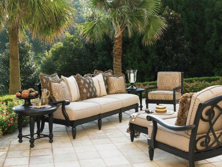 sofas madera negra jardin moderno ideas