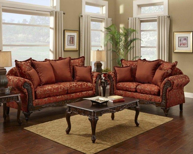 sofas pequenas rojas salon estilo victoriano ideas