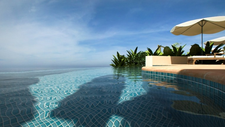 sombrilla blanca relax piscinas infinito