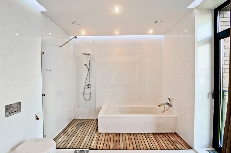 Baño Blanco Suelo Madera:Diseño de baños modernos – 60 ideas fantásticas