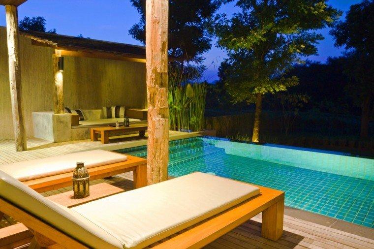 suelo madera terraza tumbonas madera teca pergola ideas