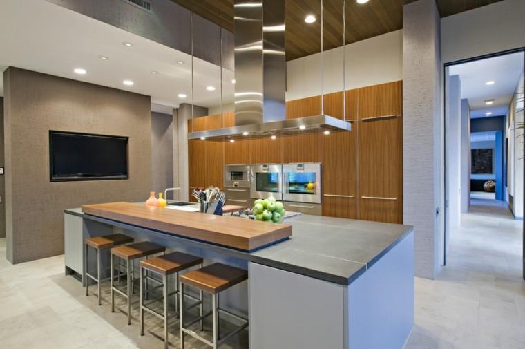 taburetes altos cocina isla gris ideas