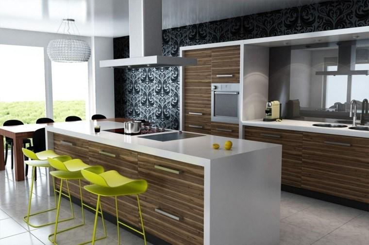 taburetes altos color verde toque llamativo cocina ideas