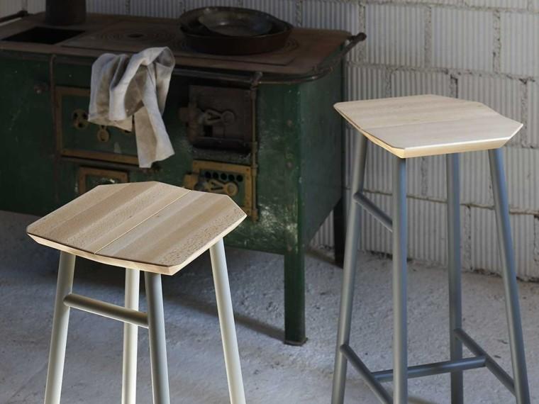 taburetes altos madera diseno muebles original ideas