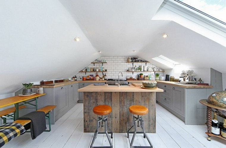 taburetes cuero isla madera estilo industrial cocina ideas