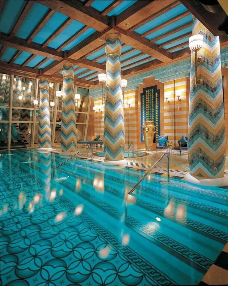 techada piscina columnas bella colorido