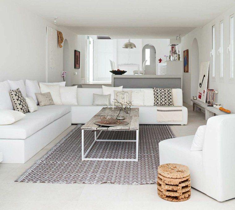 tendencias salones blanco cojines alfombra