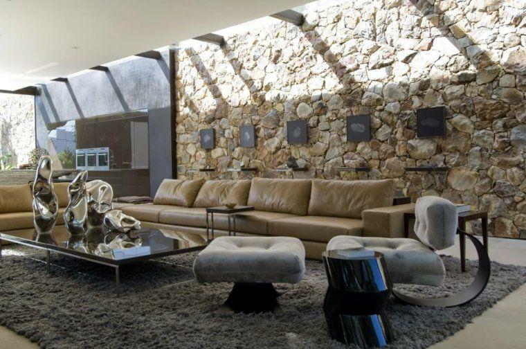 tendencias salones roca pared alfombra