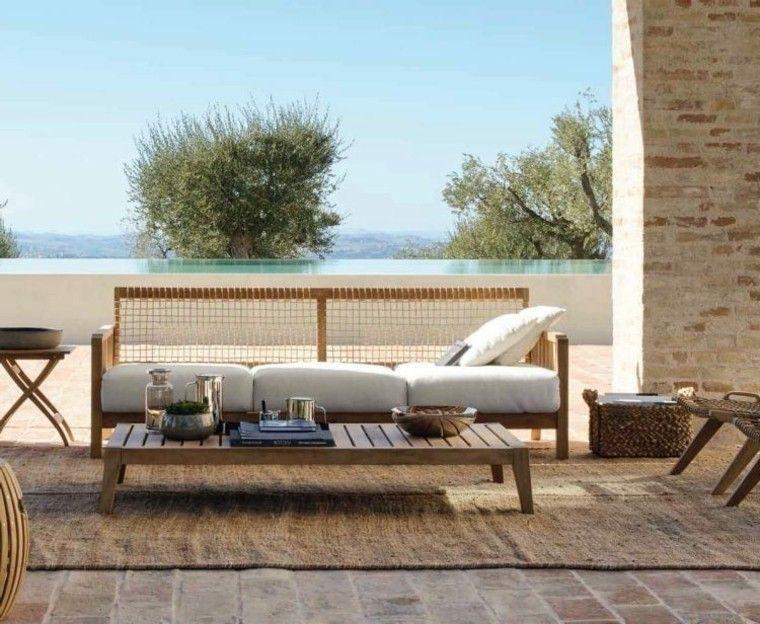tendencias terrazas mesa teca sofa cojines blancos ideas