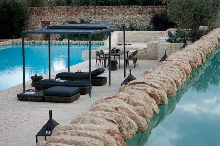 dos piecinas amplia terraza modernas muebles negros ideas