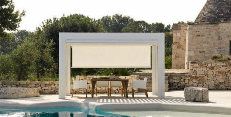 tendencias terrazas pergola persiana blanca ideas