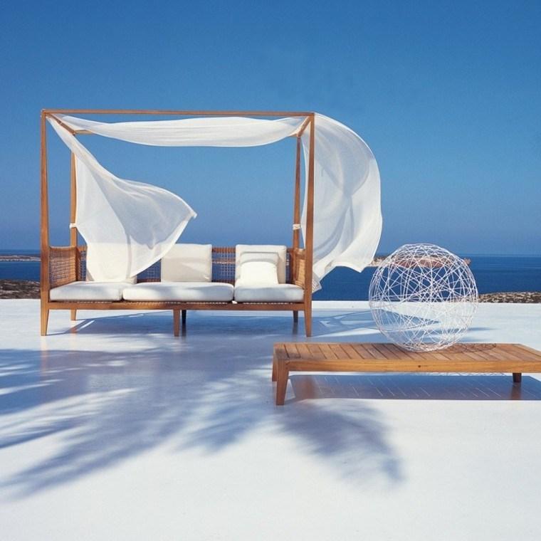 tendencias terrazas tumbona madera sofa dosel ideas