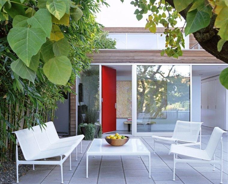 terraza blanco muebles hojas arbol mobiliario