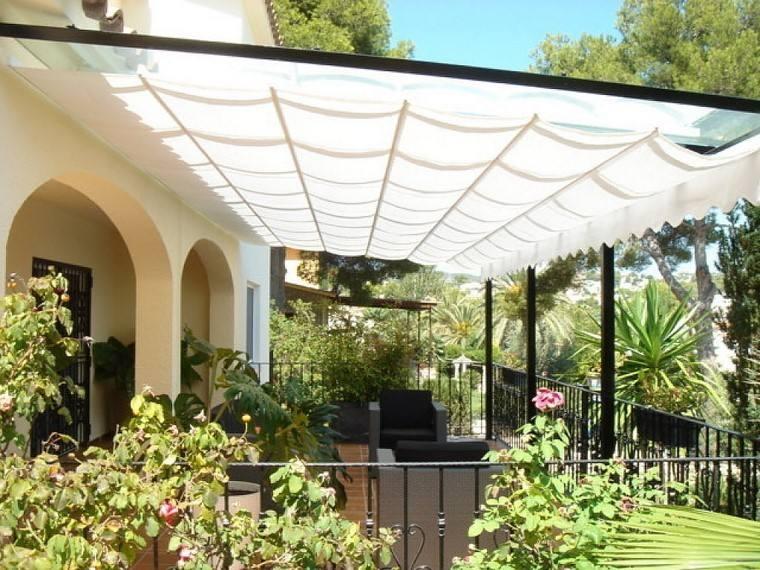 P rgolas jardines terrazas con estilo muy modernas - Toldos de tela para terrazas ...