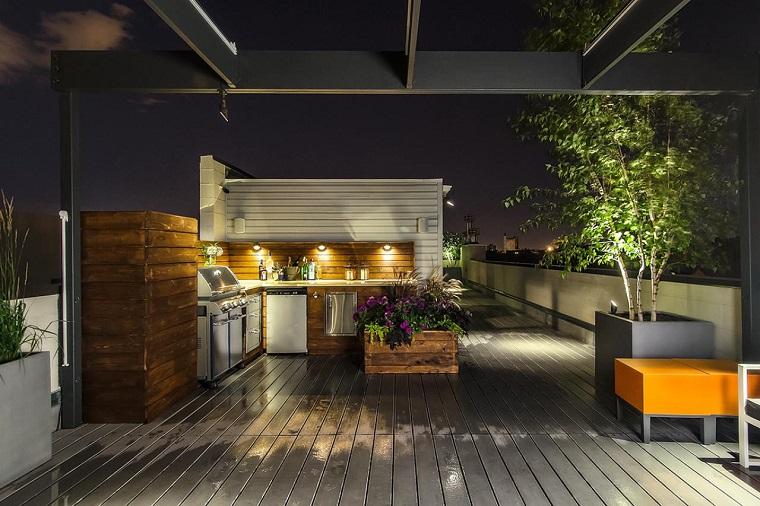 terraza madera macetas grande muebles cocina ideas
