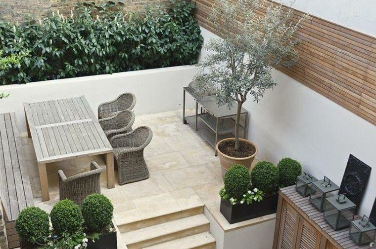 terraza madera muebles mimbre