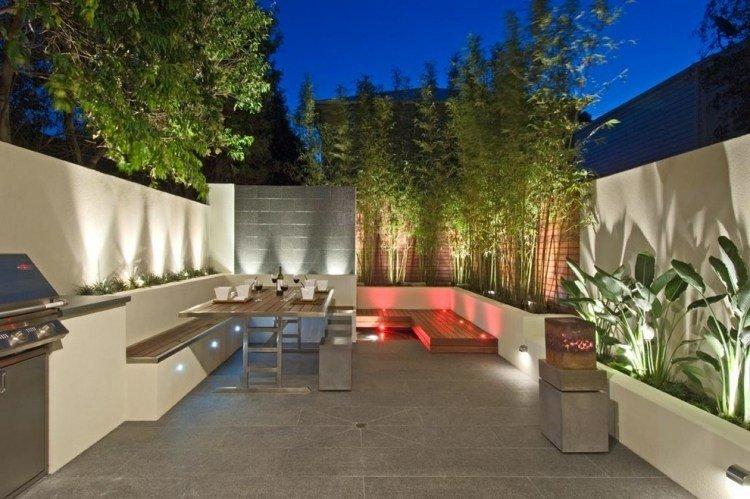 terraza moderna esquina cañas bambu