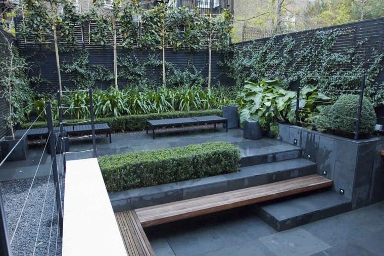 terraza moderna color gris gradas