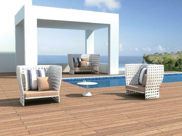 terraza moderna muebles rattan blanco