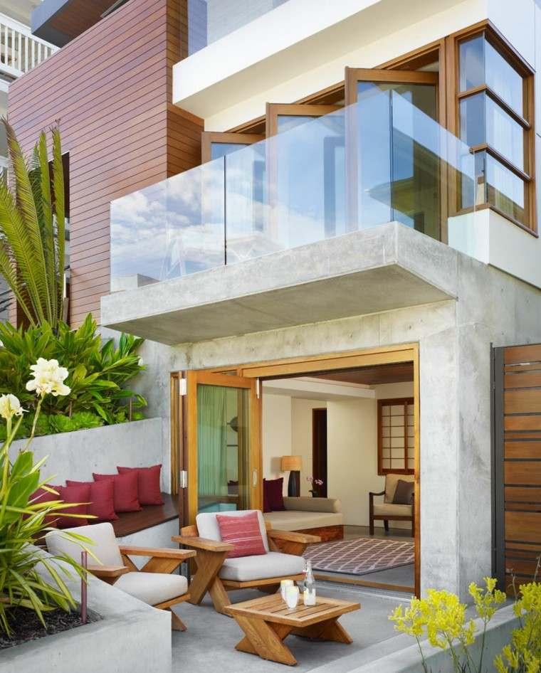 terraza moderna pequena muebles madera ideas