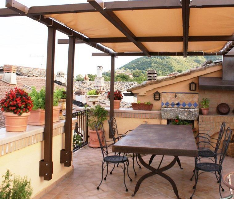 P rgolas jardines terrazas con estilo muy modernas - Pergola de hierro ...