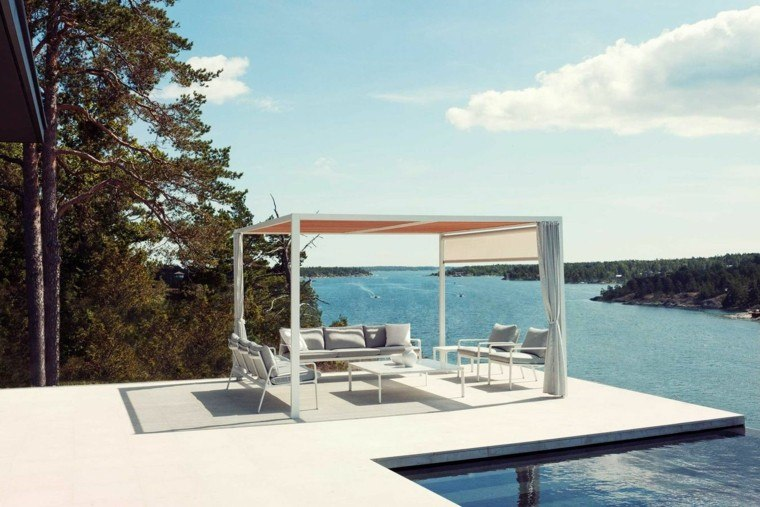terraza pergola suelo hormigon vistas sofas ideas