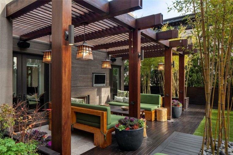 terraza pergola tratada madera bambu