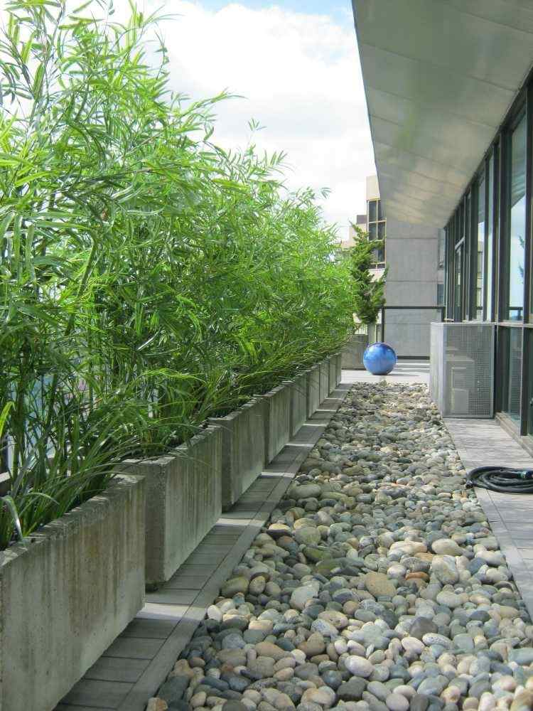 terraza minimalista piedras cañas bambu