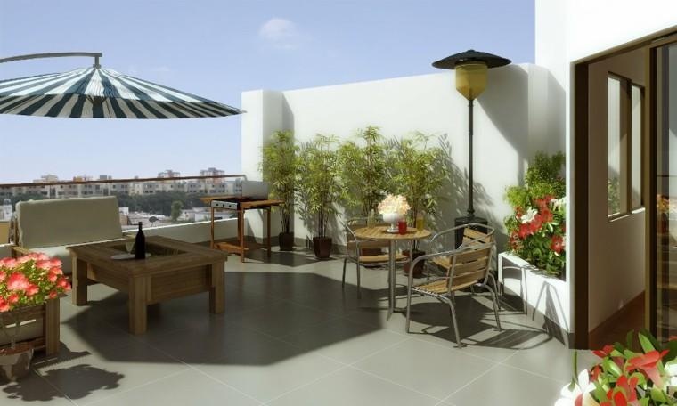 terraza plantas macetas sombrilla rayas ideas