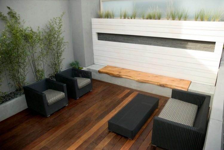 terraza suelo banco laminado madera