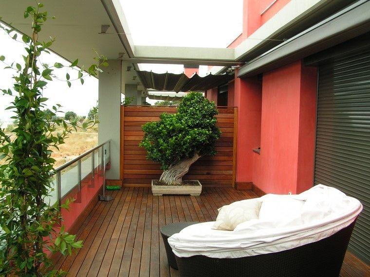 terraza suelo madera bonsai grande decorativo ideas