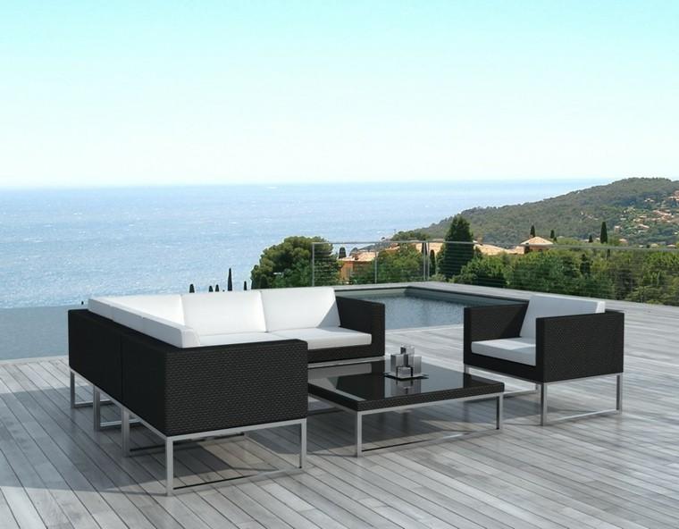 terraza moderna vistas muebles rattan