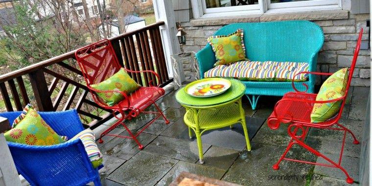 terraza diseño muebles colores mimbre