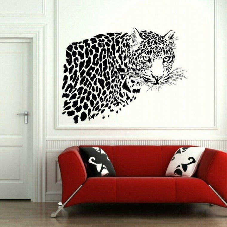 tigre blanco decorado pared contraste
