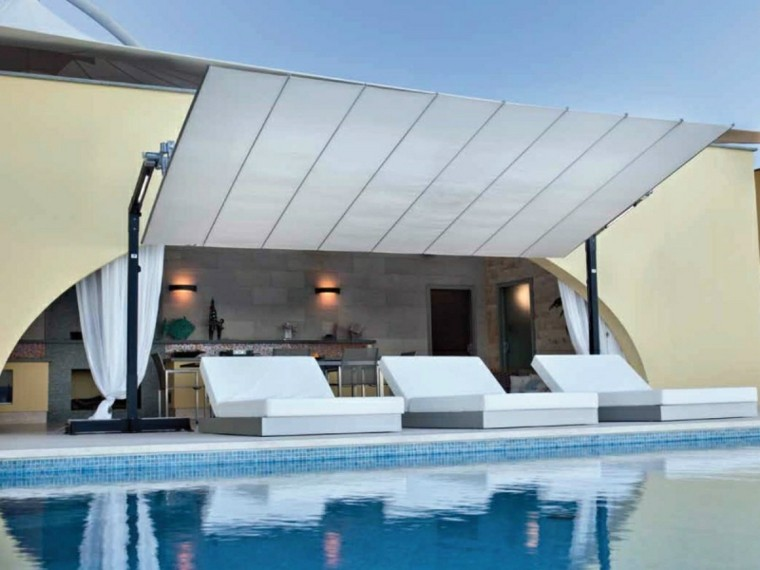 toldo mueve sol perfecto util jardi piscina ideas