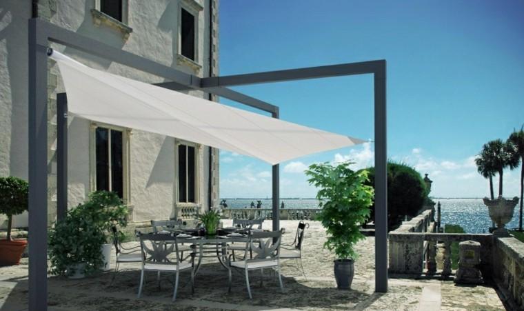 toldos percianas jardin  amplio mesa sillas ideas