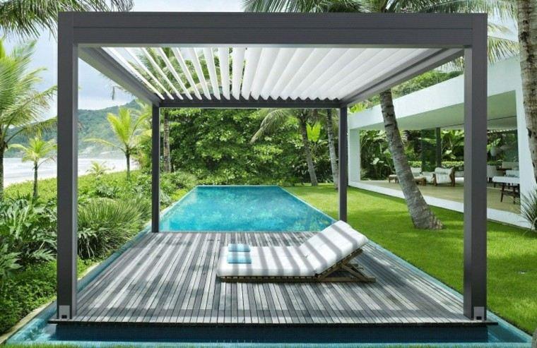 toldos pérgolas piscina tumbonas jardin  ideas
