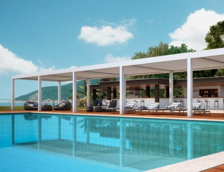 toldos pergolas grandes piscinas jardines modernos ideas