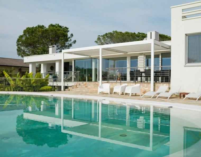 toldos pergolas piscina grande jardin terraza ideas