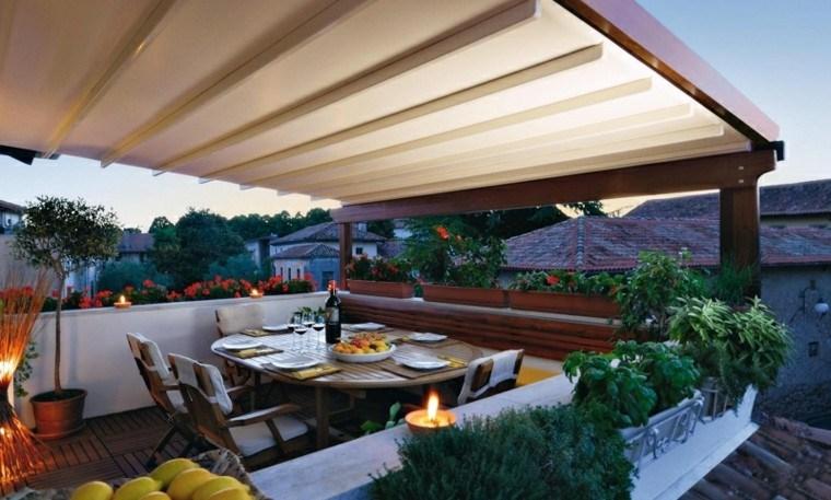 toldos pergolas terraza mesa cenas comidas ideas