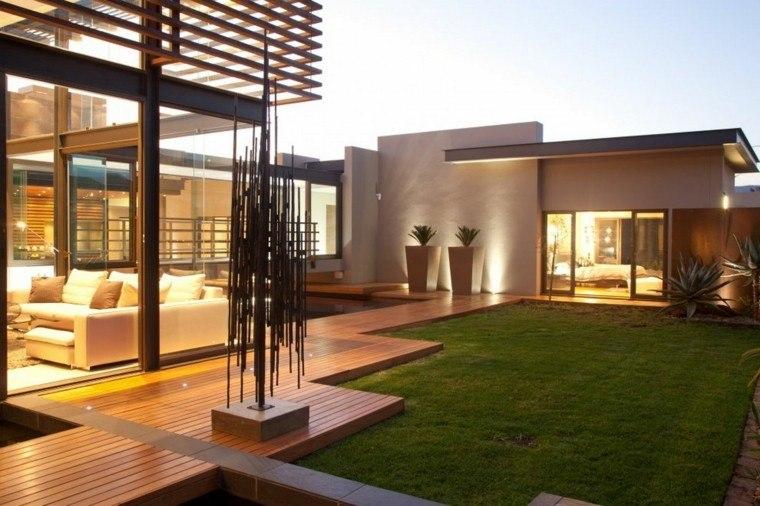 tropical casa atractivo jardineras cesped