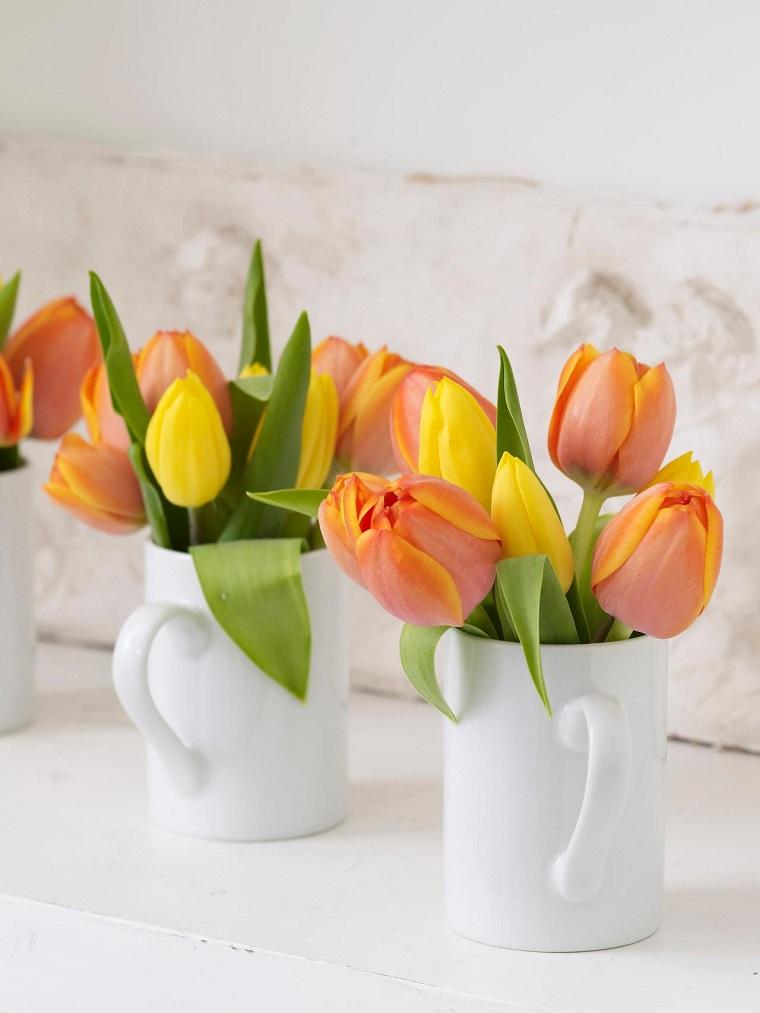 tulipanes naranja tazas cafe blancas ideas
