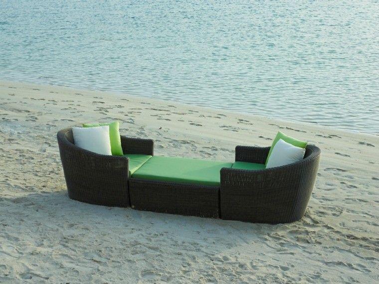 tumbona forma barca ratan kano