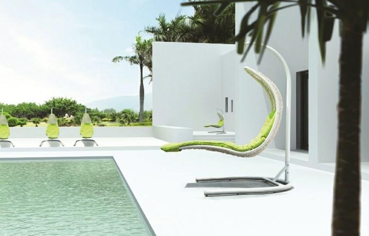 tumbona colgante diseño ratan blanco
