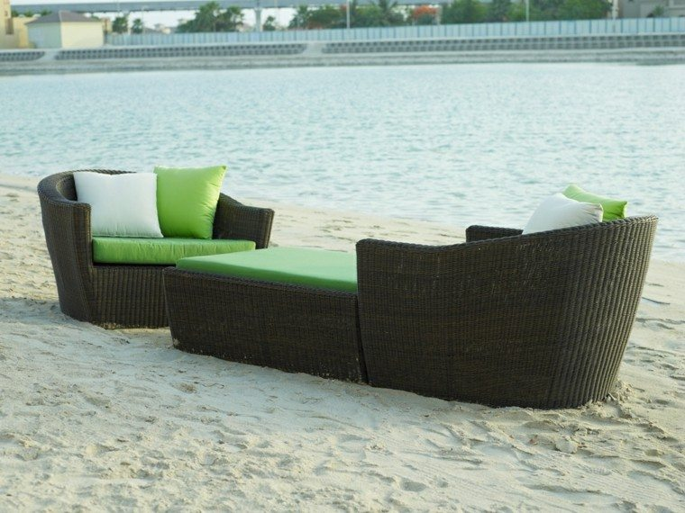 tumbonas modelo kano cojines verdes